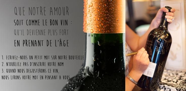 livre d'or alternatif bouteille de vin signée par les invités guest bottle of wine